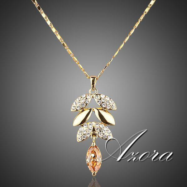 Luxury  Austrian Crystals Leaves Design Pendant Necklace