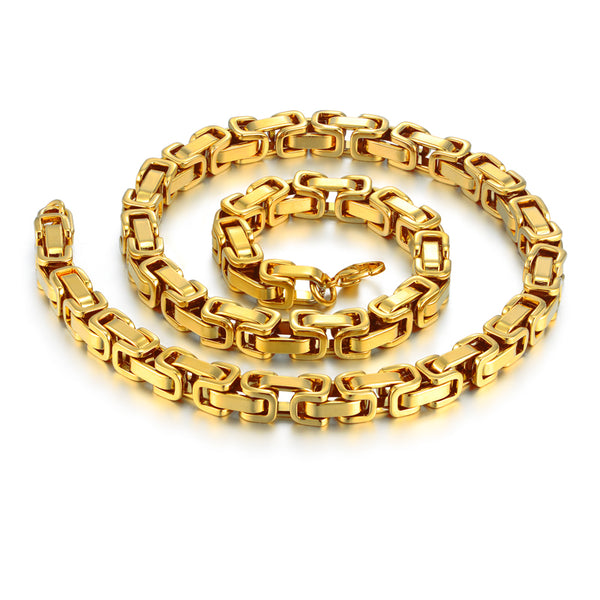 "22"" 26"" 28"" Men Byzantine Chain Gold Color Mens Thick Gold Chain Necklace Stainless"