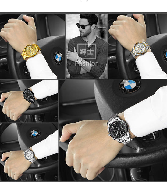 Mens luxury gold wristwatches quartz waterproof stainless steel