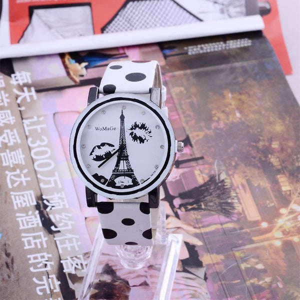 WoMaGe Eiffel Tower Watch Polka Dot Leather Ladies Watch Women Watches Clock
