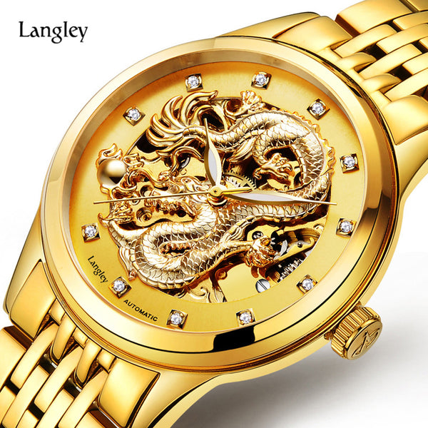 LANGLEY Automatic Watches Men Luxury Business Watch 3D Carving Dragon Gold Skeleton