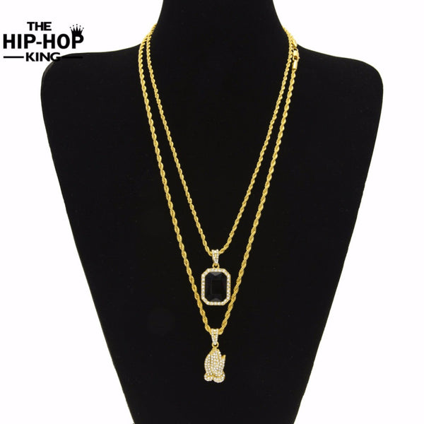 Jewelry Necklace Set  Iced Out Rhinestone,  Pendant Necklace Men-Multi style