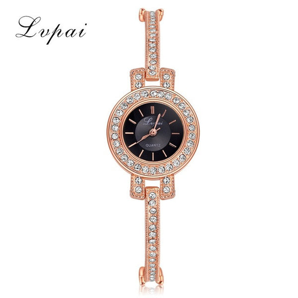 Luxury Ladies Bangle Thin Oval Rhombus Gold Rhinestone  Women Dress Quartz Crystal