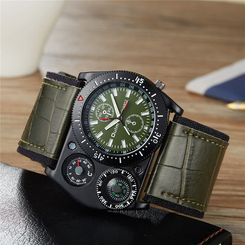 Unique Sport Wrist Watch Men Quartz Military Clock Wide Strap PU Leather Compass Thermometer Decoration