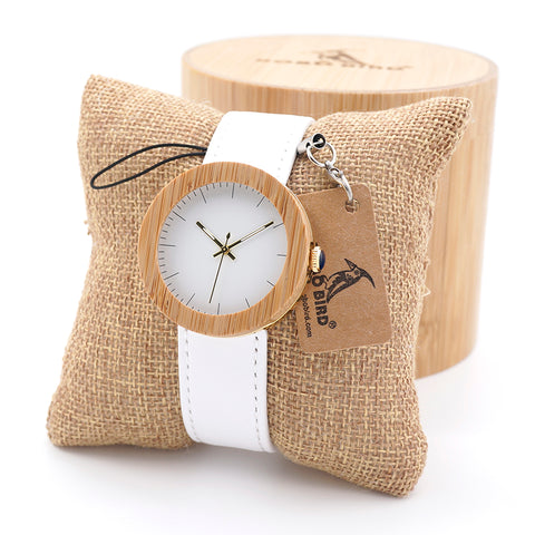BOBO BIRD Top Brand Design Wood Watches for Womens Leather Band  quartz clock in wood box