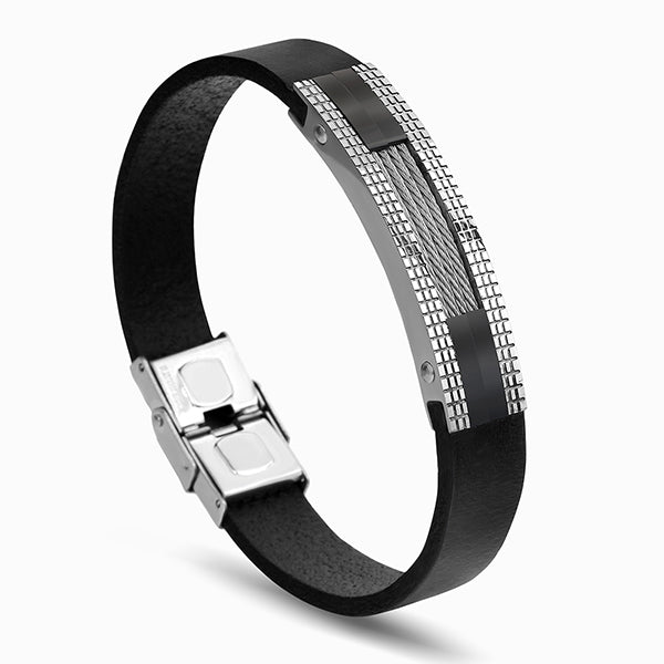 Leather Men's  Unique cable mesh Design Stainless Steel  Jewelry