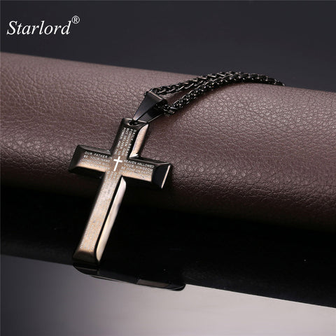 Bible Cross Necklace Vintage Pendant Religious Holy Stainless Steel/Gold Color  Jewelry Men/Women