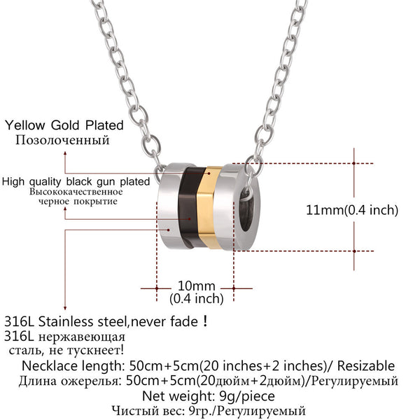 Unique Multi-layer Nuts Pendant Necklace Stainless Steel Circle Pendant Jewelry For Men