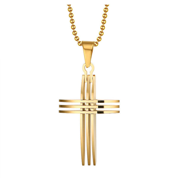 Unique Design Fashion Gold-color Charm Cross 60cm Necklaces Pendants Jewelry