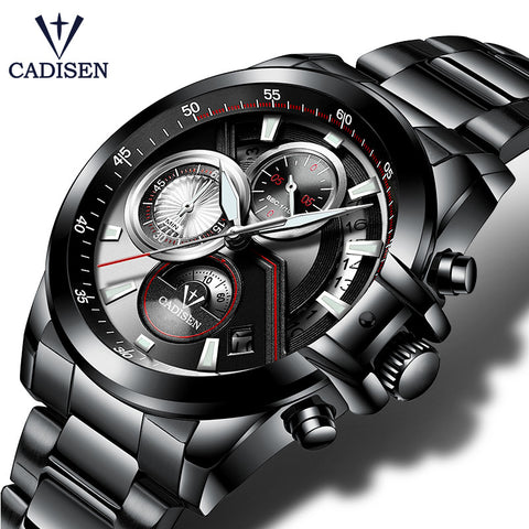 CADISEN Mens Brand Luxury/Military Casual Waterproof  Quartz Stainless Steel Watch