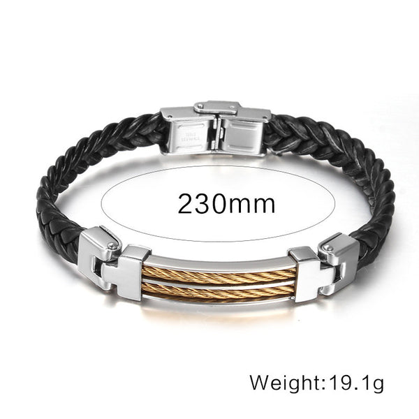 Fashion Black Leather Bracelets Men Jewelry Stainless Steel