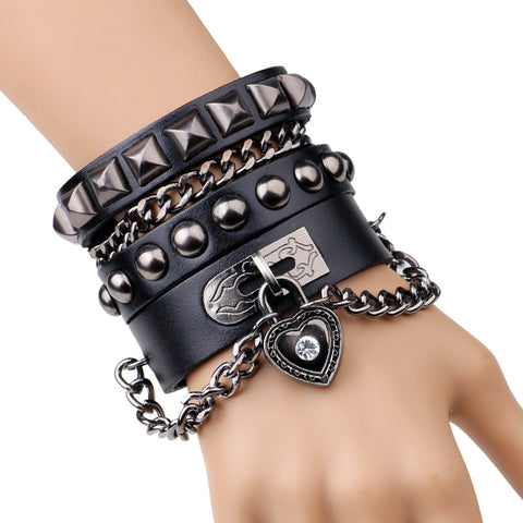 Charm Punk Rock Chain  Leather Bracelet  for Women