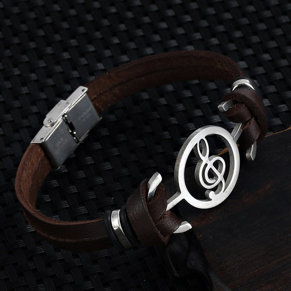 New fashion Design Musical   Stainless steel Genuine Leather unisex Bracelets