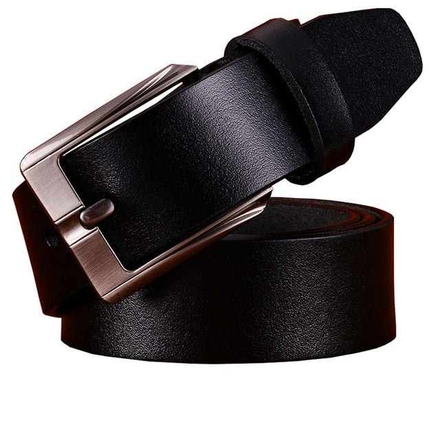 Casual genuine leather belts for men Top quality second layer cowskin belt man Luxury Pin buckle