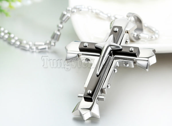 Vintage Men  Three layers Crucifix Cross Necklace /Pendant