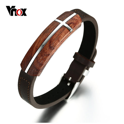 Retro Rosewood Genuine Leather Bracelet for Men Real Wood Top Quality