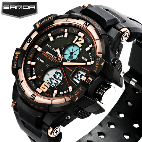 SANDA  Men Sports Watches LED Digital Watches Sport Shock Military Wristwatch