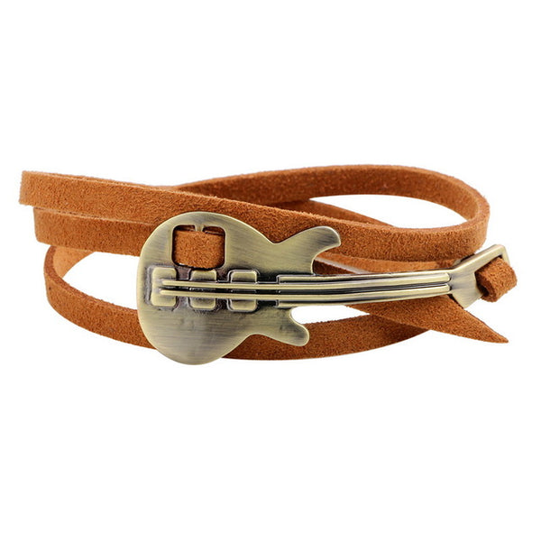 Music Inspired Leather Bracelet /Metal Guitar Wrap Bracelet  Jewelry