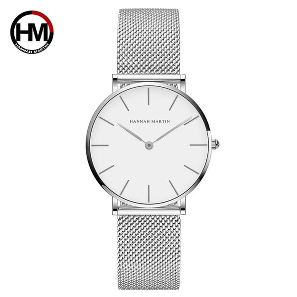 Quartz Movement High Quality 36mm hannah Martin Wms Stainless Steel Mesh Rose Gold Watch