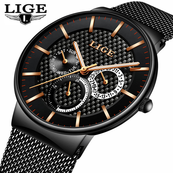LIGE Luxury Quartz Watch/ Men's  Slim Mesh Steel Date Waterproof Sports Watch