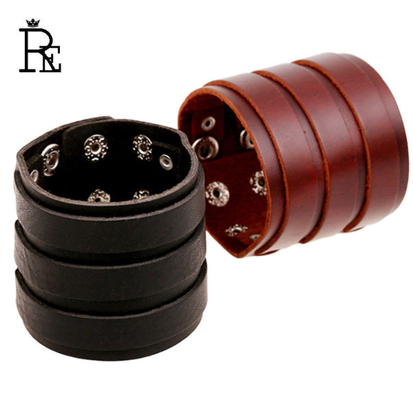 Genuine Cowhide Leather Wrap Mens Punk Rock  Bracelet  Jewelry