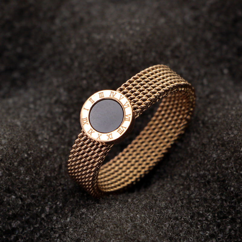 Fashion  Roman Numerals Round Black Shell Mesh Rings Women Rose Gold Color