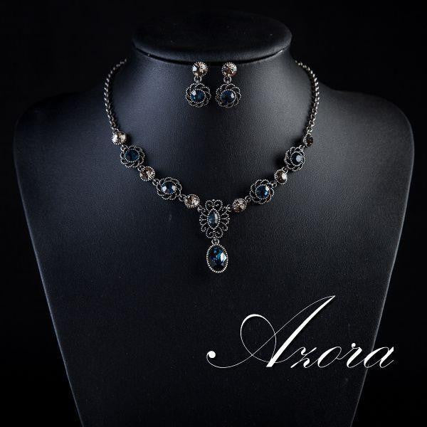 Exclusive Ancient Silver Color Bule Stellux Austrian Crystal Earrings and Necklace Set