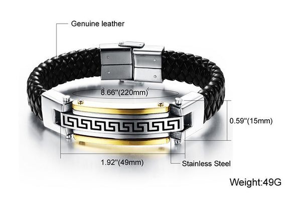 Stainless Steel Men Jewelry  Rope Men Bracelet  Genuine Leather Top Quality  For Men