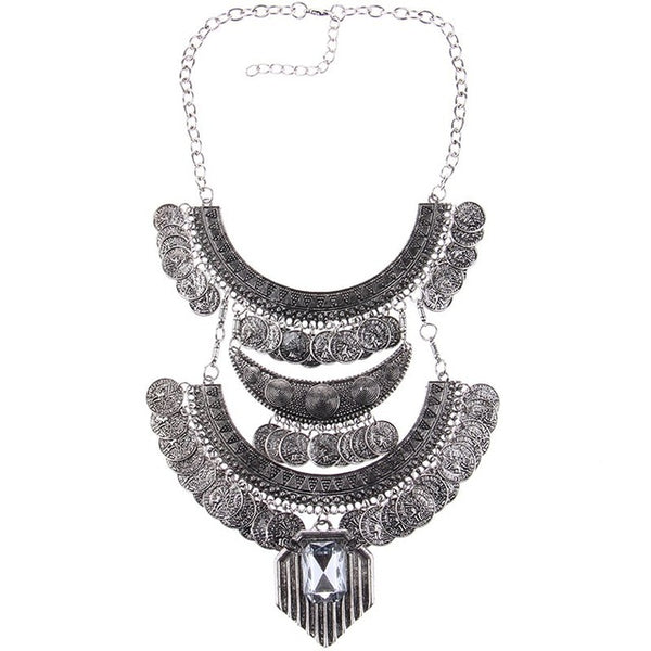 Boho Collar Coin Necklace & Pendant Vintage Crystal Maxi Choker Statement Necklace