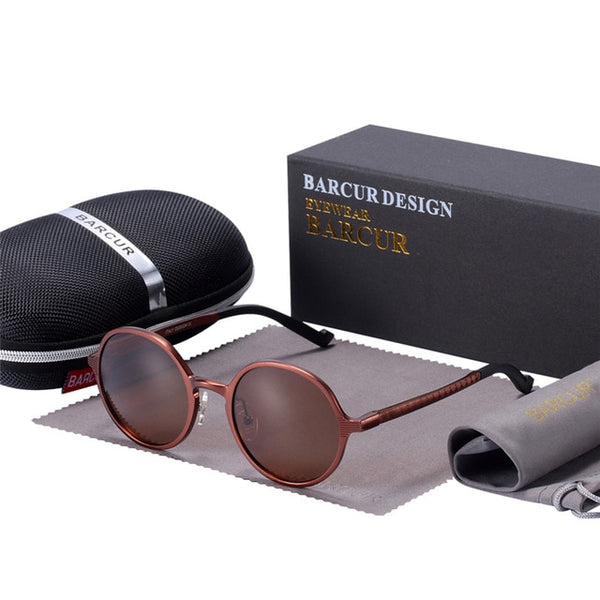 BARCUR Hot Black Goggle Male Round Sunglasses Luxury Brand Men Glasses