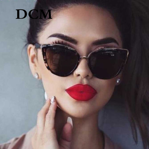 DCM Cateye Leopard Womens  Vintage Gradient  Sunglasses