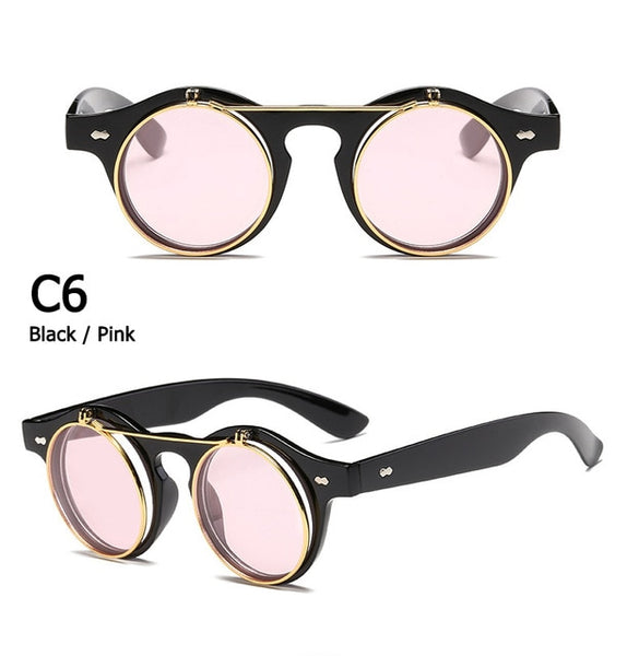 Fashion Vintage Round SteamPunk Flip Up Sunglasses Classic Double Layer Clamshell Design