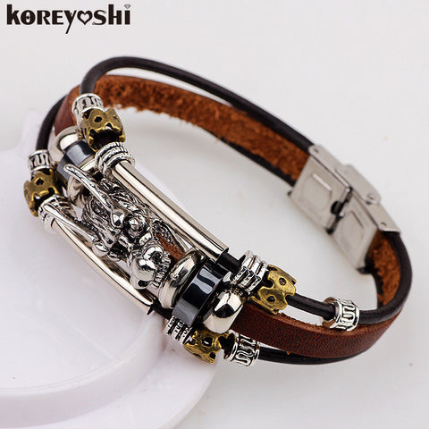 Tibetan silver mens leather  bracelet  male- Multilayer jewelry