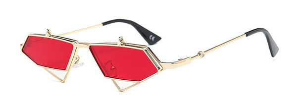Metal triangle  frame steampunk flip up sunglasses- mens vintage uv400