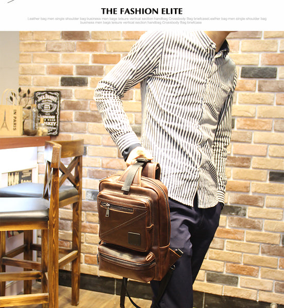 Design Body Messenger Cross Bag Bicycle Men PU leather Shoulder Backpack Sling Chest Casual Retro Brown Pack