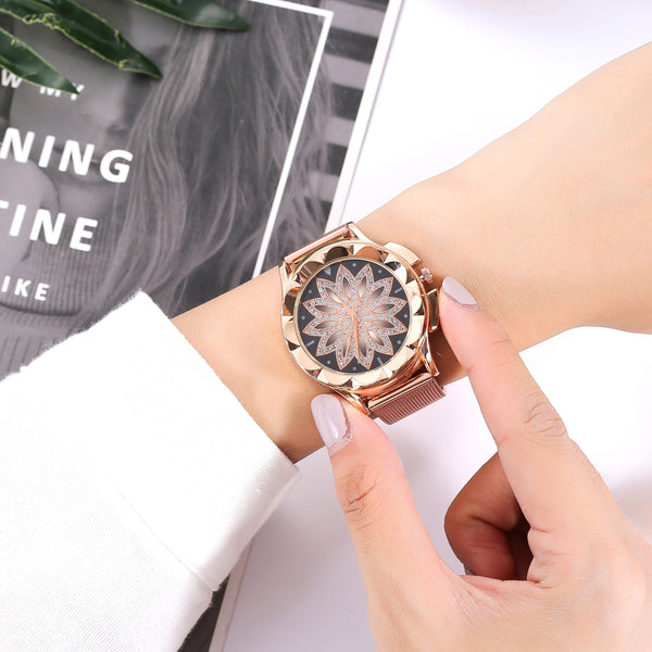 Womens Rose Gold Flower Rhinestone Luxury Quartz