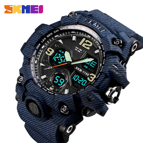 SKMEI Luxury Denim Style Sports Watches Men Fashion Digital Quartz