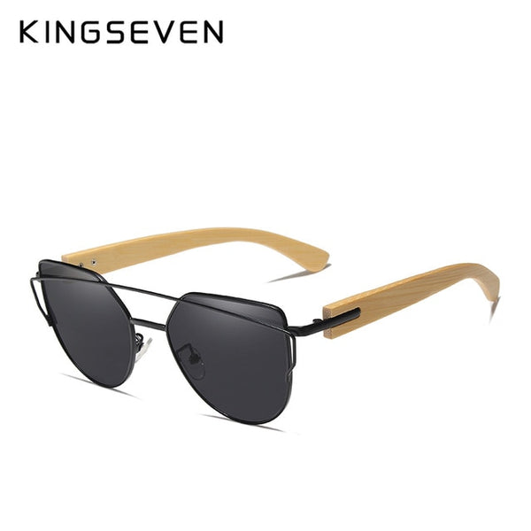 KINGSEVEN Brand Bamboo Stylish Mix Frame Sunglasses Polarized