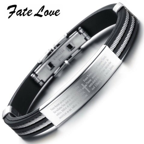 Casual Stainless Steel Cross Black /Genuine Silicone Mens Bracelet