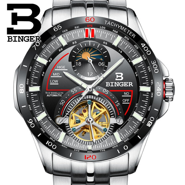 Luxury Switzerland BINGER Men outdoor sport multi-functional sapphire full steel waterproof watch