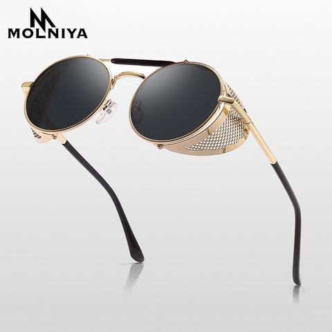 Retro Steampunk Sunglasses Round Design w/ Metal Shields  UV400