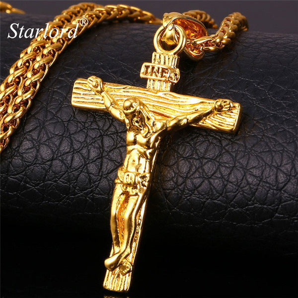 INRI Jesus Piece Crucifix Pendant&Necklace Stainless Steel Gold Chain For Men