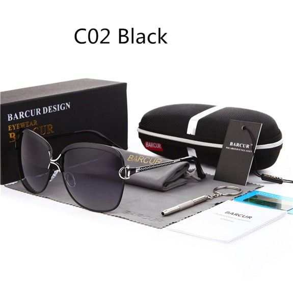 Luxury BARCUR Polarized Ladies Sunglasses with Gradient Lens