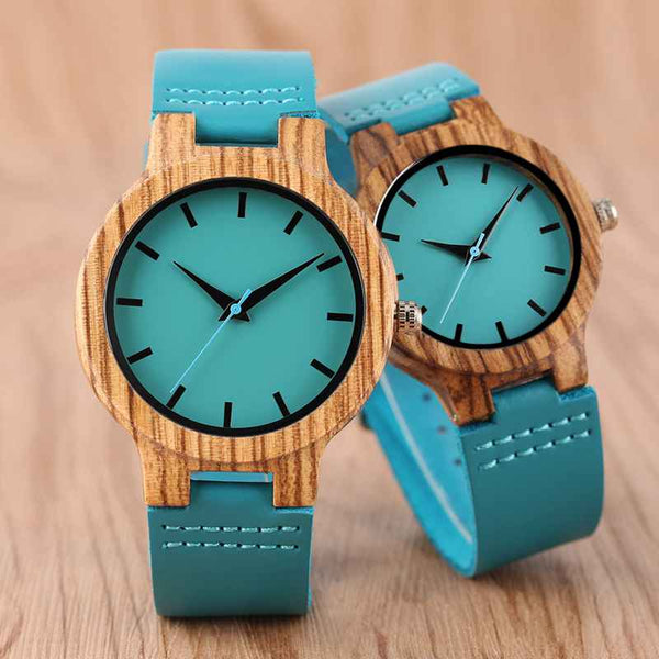 Luxury Royal Blue Wood Watch Top Quartz Wristwatch 100% Natural Bamboo Casual Leather