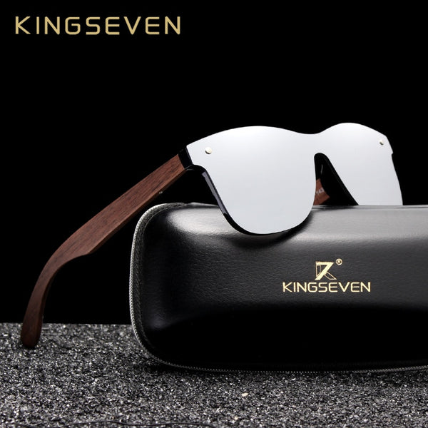 KINGSEVEN 2019 Luxury Walnut Wood Sunglasses/ Polarized Rimless Mirrored Square