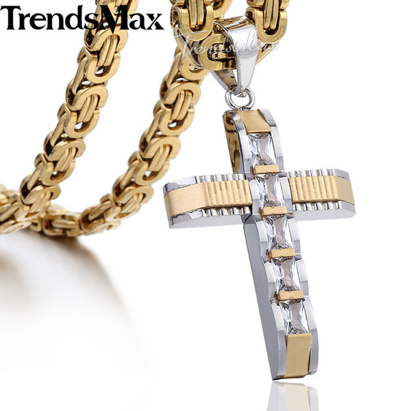 Cross Necklace Gold Silver Black Stainless Steel Byzantine Chain Necklace