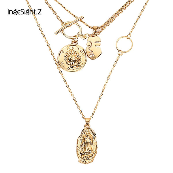 Multi Layer Chain Pendant Choker Necklace Portrait Coin Virgin Mary Face Fashion Women Statement Jewelry