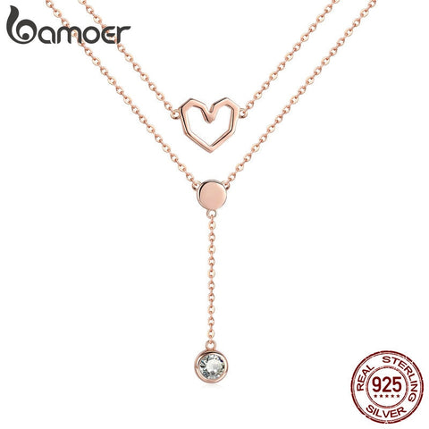 BAMOER  Collection 925 Sterling Silver Double Layers Love Heart Chain Pendant Necklaces