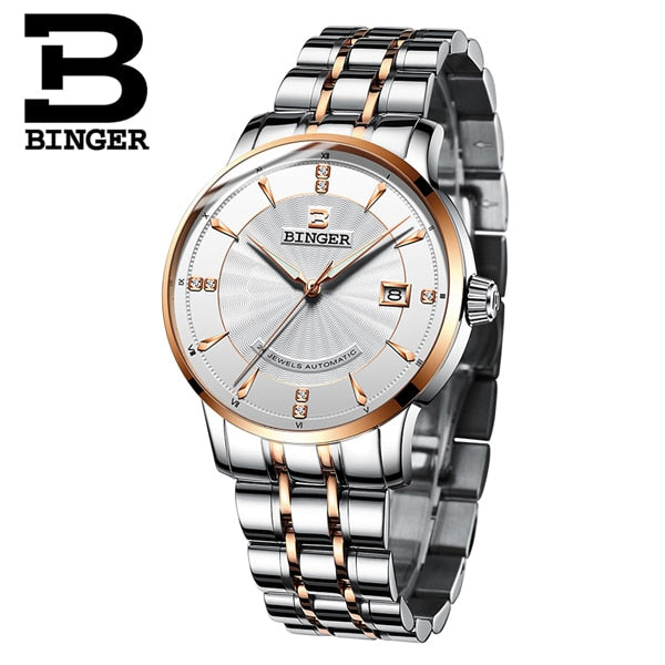 Switzerland BINGER Mens Luxury Brand  Auto Self-wind Mechanical  Watches- Sapphire