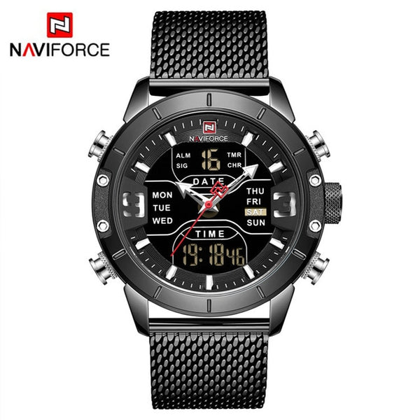 NAVIFORCE Mens Sport  Full Steel Quartz Digital Clock Waterproof Watch